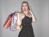 žena s mobilní telefon — Stock fotografie
