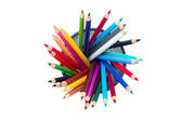 Colorful array of pencil crayons — Stock Photo