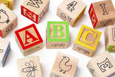 Building blocks of abc alphabets arranged beside each other — Stock Photo