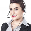 Modern businesswoman with headset — Stock Photo