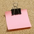 Pink memo note with binder — Stock Photo #18821899