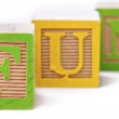 Close up shot of fun inscribed on playing cubes — Stock Photo