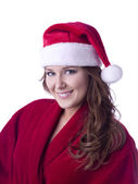 Smiling female with santa hat — Stock Photo