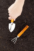 Digging soil close up — Stock Photo