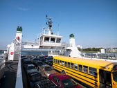 Cars and bus on ferry — Stock Photo