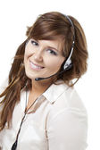 Smiling support phone operator — Stock Photo