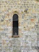Toskana bir kilisenin taş duvar kemer penceresi — Stok fotoğraf