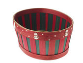 Close up of red and green stripped christmas basket — Stock Photo