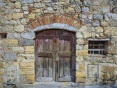 Stonewall with closed wooden door — Stock Photo
