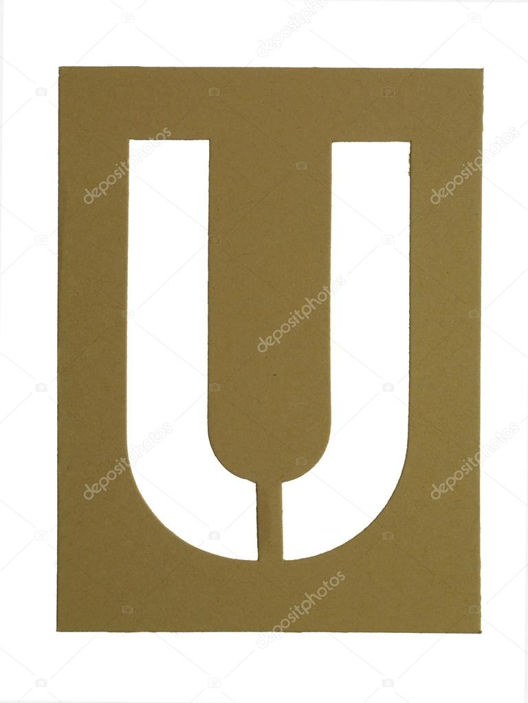 Image of cardboard cut out letter U against white background — Stock Photo #18822313
