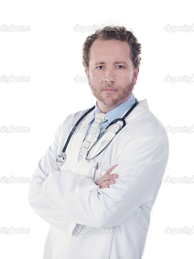 Confident young doctor looking at camera over white background — Stock Photo #18823063