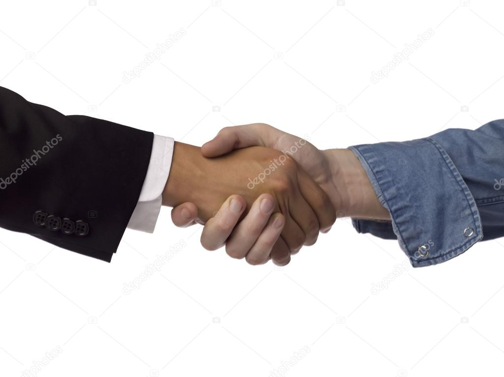 Close up image of business partnerships against white background — Stock Photo #18823631