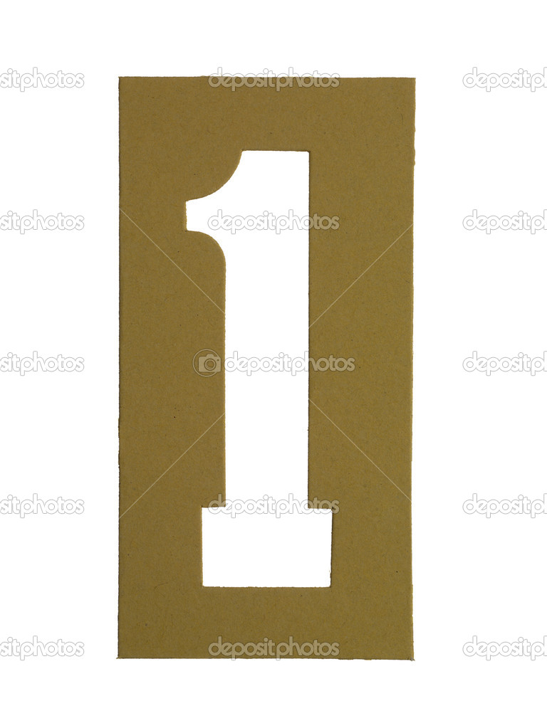 Image of Cardboard cut out number 1 against white background — Stock Photo #18824117