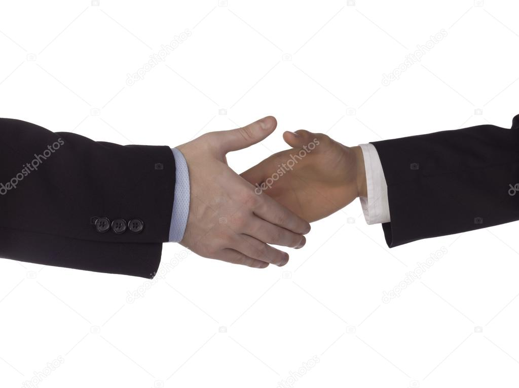 Cropped image of two businessmen shaking hands isolated over the white background — Stock Photo #18825179