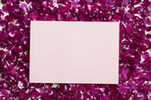 Pink empty card on petals — Stock Photo