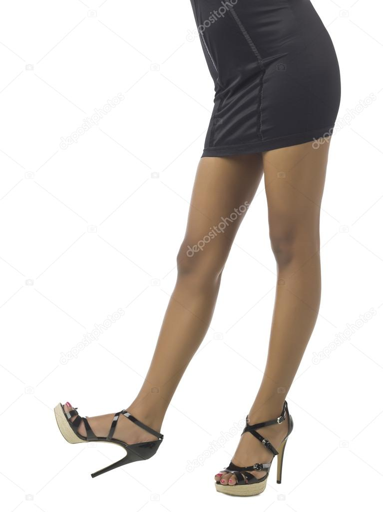 Woman legs wearing black high heels sandals — Stock Photo © kozzi2 ...