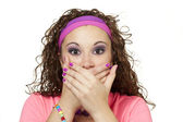 Girl in neon clasps hands over mouth — Stock Photo