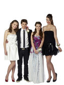 Beautiful teenagers and handsome man — Stock Photo