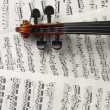 Peghead of violin and music sheets — Stock Photo