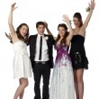 Stock Photo: Group of teenagers dressed on prom