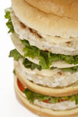 Tall hamburger with meat and vegetables — Stock Photo