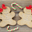Royalty-Free Stock Photo: Close up shot of christmas gingerbread men with candy canes