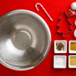 Close-up top view of Christmas ingredient with Christmas bulbs — Stock Photo #19346751