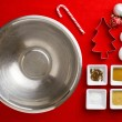 Close-up top view of Christmas ingredient with Christmas bulbs — Stock Photo