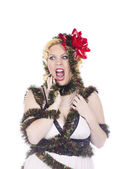 Enraged lady in decorations — Stock Photo