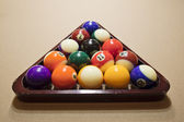 Racked pool balls — Stock Photo