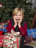 Shocked boy with his christmas present — Foto de Stock