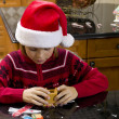 Stock Photo: View of boy making gingerbread house