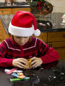 View of a boy making gingerbread house — Stock Photo
