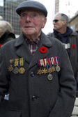 Image of a senior citizen in military uniform — Stock Photo