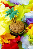 Close up image of cupcake with plastic coconut tree miniatur — Stock Photo
