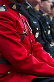 Cropped view of a man in red uniform — Stock Photo