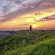 Lighthouse at sunset at marthas vinyard — Stock Photo #19451555