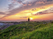 Lighthouse at sunset at marthas vinyard — Stock Photo