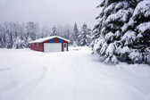 Red garage in snow — Stock Photo