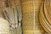 Straw brooms — Stock Photo