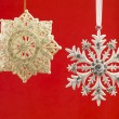 Close up of christmas baubles in snowflake shape — Stock Photo