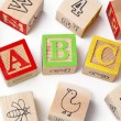Colorful playing cubes with alphabets abc — Stock Photo