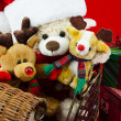 Plush family christmas — Stock Photo