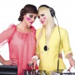 Portrait of a young women beside dj mixture — Stock Photo