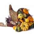 Wicker cornucopia of vegetables — Stock Photo #19489033