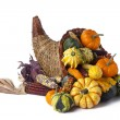 Stock Photo: Wicker cornucopia of vegetables
