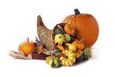 Pumpkin and cornucopia — Stock Photo