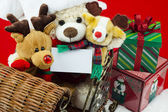 Christmas toys riding in a sleigh — Foto de Stock