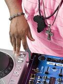 Dj playing music on machine — Stock Photo