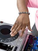Djs hand scratching on the turntable — Stock Photo
